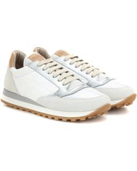 Brunello Cucinelli - Paper Effect Leather And Suede Trainers - Lyst