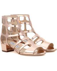 e7ffb3387923 Jimmy Choo - Ren 35 Metallic Leather Sandals - Lyst