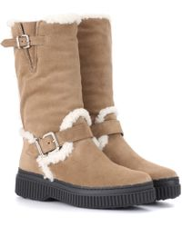 Tod's - Fur-lined suede boots - Lyst