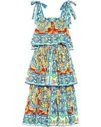 33833530 Dolce & Gabbana - Tiered Printed Stretch Cotton Dress - Lyst