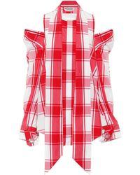 Monse - Embellished Cold-shoulder Checked Cotton-poplin Shirt - Lyst