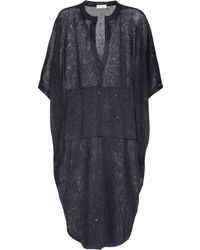 Brunello Cucinelli - Sequinned Linen And Silk Dress - Lyst