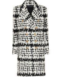 Balmain Manteau en tweed de laine mélangée - Noir