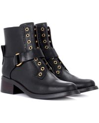 See By Chloé - Embellished Leather Ankle Boots - Lyst