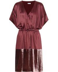 Brunello Cucinelli - Satin And Velvet Dress - Lyst