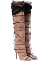7aafd1a53c3f Jimmy Choo - X Off-white Elisabeth 100 Tulle And Satin Boots - Lyst