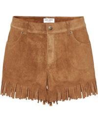 Saint Laurent - Fringed Suede Shorts - Lyst