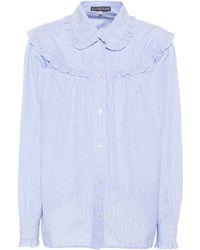 ALEXACHUNG - Ruffled Striped Cotton Shirt - Lyst