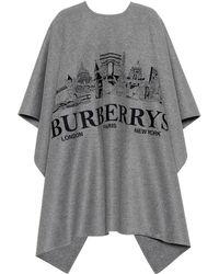 Burberry - Poncho en cachemire avec décor urbain brodé - Lyst