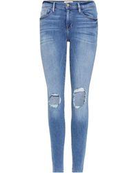 FRAME - Distressed Jeans Le Skinny De Jeanne - Lyst