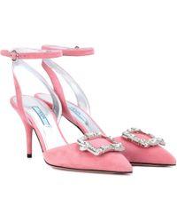 Prada - Embellished Suede Court Shoes - Lyst