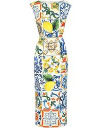 Dolce & Gabbana - Majolica Stretch Silk Dress - Lyst