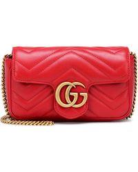 4b27f73ca90d Gucci - Gg Marmont Matelasse Leather Mini Chain Shoulder Bag - Lyst