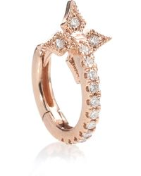 Stone Paris - Tiny Hoop With A Cross 18kt Rose Gold And Diamond Earring - Lyst