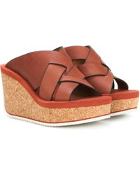 See By Chloé - Leather Wedge Sandals - Lyst