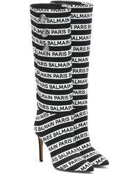 Balmain - Stivali in maglia con logo - Lyst