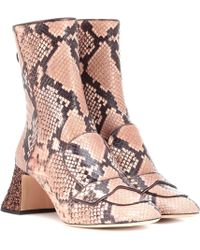 Rochas - Embossed Leather Ankle Boots - Lyst