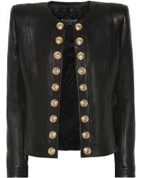 Balmain - Button-embellished Collarless Leather Blazer - Lyst