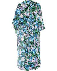 fc7b15e9a1fe Lyst - Balenciaga Floral-printed Crêpe Dress in Blue