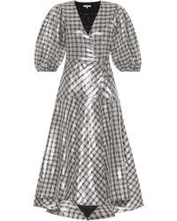 7d039696 Ganni - Ladies Silver Checked Check Lagarde Metallic Silk-blend Dress - Lyst