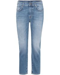 7 For All Mankind - Josefina Mid-rise Cropped Jeans - Lyst