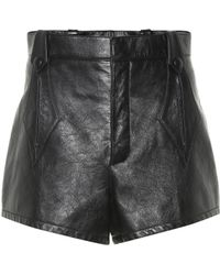 Saint Laurent High-waisted Leather Shorts - Black