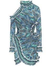 Zimmermann - High-neck long-sleeved cut-out detail mini dress - Lyst