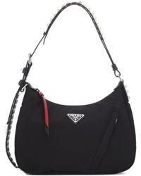 Prada - New Vela Studded Nylon Shoulder Bag - Lyst