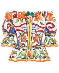 Dolce & Gabbana - Majolica Printed Cotton Top - Lyst