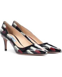 Prada - Lipstick-printed Leather Court Shoes - Lyst