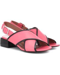 Marni - Leather Crossover Sandals - Lyst