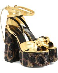 4ab08e528e5 Saint Laurent Paige 105 Suede Platform Sandal in Black - Save 12% - Lyst