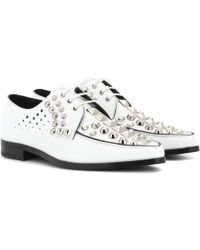 Prada - Studded Leather Derby Shoes - Lyst