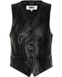 MM6 by Maison Martin Margiela - Leather Vest - Lyst