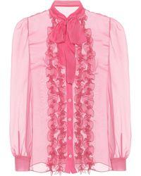 Dolce & Gabbana - Silk Pussybow Blouse - Lyst