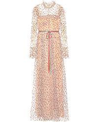 Monique Lhuillier - Robe longue en tulle à paillettes - Lyst