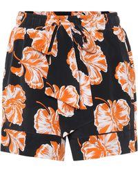 Ganni - Black & Orange Geroux Floral Shorts - Lyst