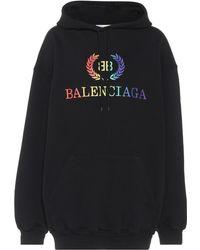 Balenciaga - Bb Oversized Jersey Hoodie - Lyst