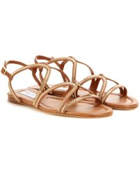 Jimmy Choo - Nickel Embellished Leather Sandals - Lyst