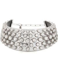 Tom Ford - Crystal-embellished Metallic Leather Choker With Silver - Lyst