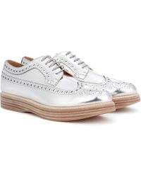 Keely 2 Metallic Leather Platform Brogues - Silver Churchs