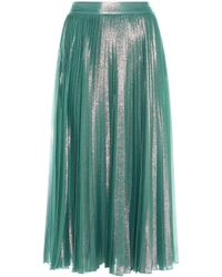 Gucci Hammered Satin Pleated Skirt in Green | Lyst