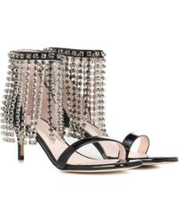Christopher Kane - Woman Crystal-embellished Patent Leather Sandals Black - Lyst