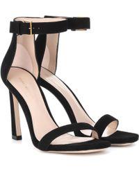 Stuart Weitzman - Squarenudist 100 Suede Sandals - Lyst