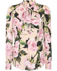 16f65bbdbc4b60 Lyst - Dolce   Gabbana Sheer Rose Print Silk Chiffon Blouse in Pink