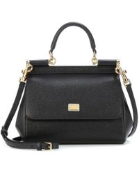 0fde815a35 Dolce   Gabbana - Black Sicily Dauphine Leather Small Satche - Lyst