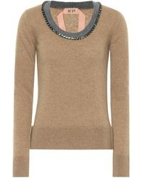 N°21 - Embellished Wool Sweater - Lyst