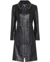 ALEXACHUNG - Embellished Leather Coat - Lyst