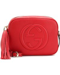 ab08bc4aea48e Lyst - Gucci Soho Disco Leather Shoulder Bag in Red