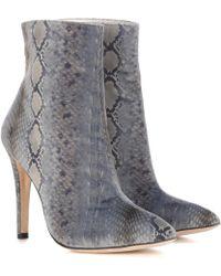 AlexaChung | Snakeskin-printed Velvet Ankle Boots | Lyst